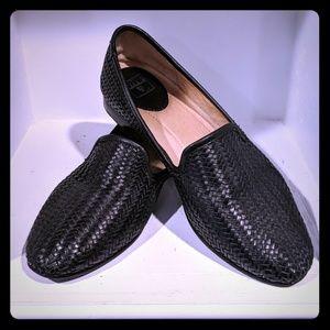 Frye Leather Basketweave Black Loafers Sz 9